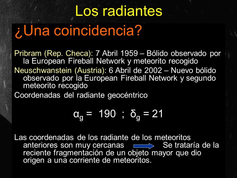 Los radiantes ¿Una coincidencia? Pribram (Rep. Checa): 7 Abril 1959 – Bólido observado por la European Fireball Network y meteorito recogido Neuschwan