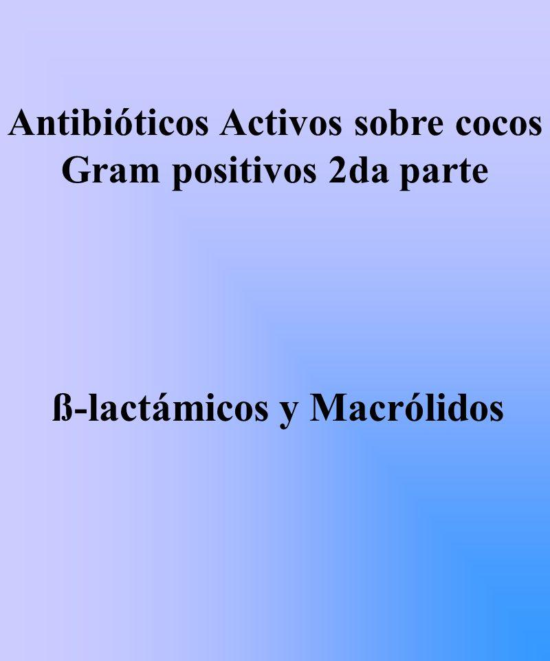 Macrólidos: estructura química Anillo lactónico de gran tamaño que se unen mediante enlaces glucosídicos a uno o varios azúcares neutros o básicos CLASIFICACION: según número de carbonos 14 carbonos Eritromicina Claritromicina 15 carbonos Azitromicina 16 carbonos Espiramicina