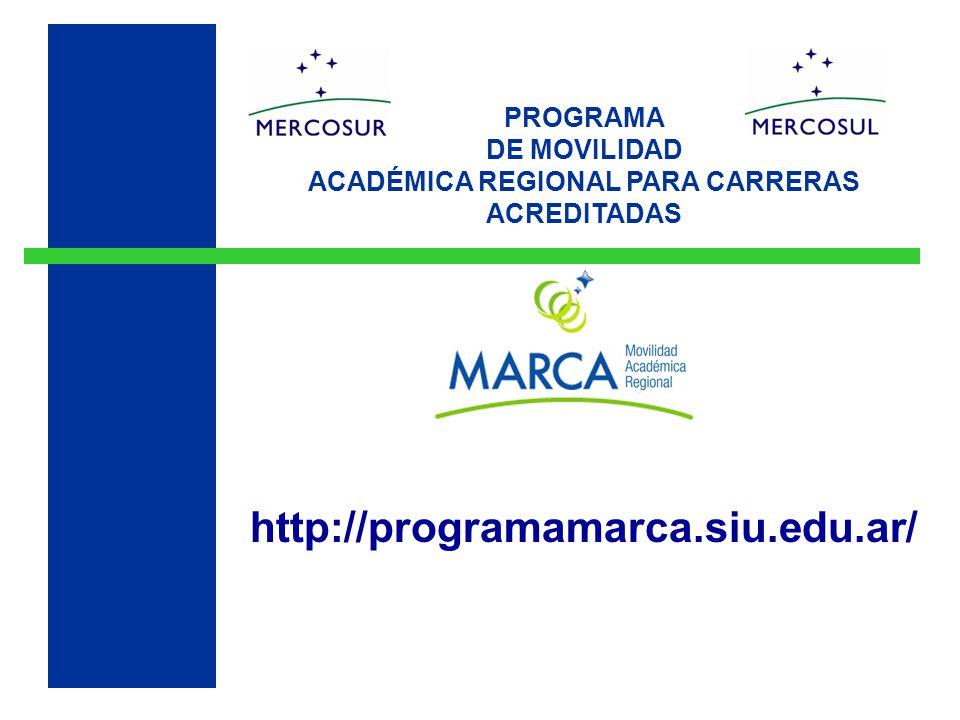 PROGRAMA DE MOVILIDAD ACADÉMICA REGIONAL PARA CARRERAS ACREDITADAS http://programamarca.siu.edu.ar/