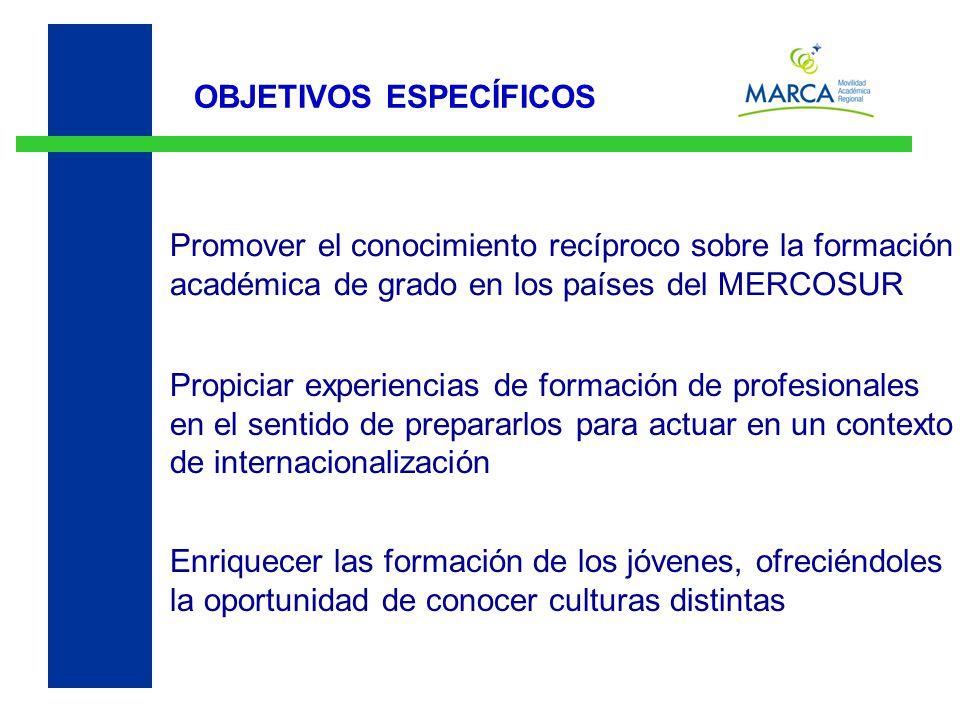 OBJETIVOS ESPECÍFICOS Promover el conocimiento recíproco sobre la formación académica de grado en los países del MERCOSUR Enriquecer las formación de los jóvenes, ofreciéndoles la oportunidad de conocer culturas distintas Propiciar experiencias de formación de profesionales en el sentido de prepararlos para actuar en un contexto de internacionalización