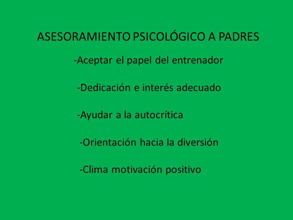 ASESORAMIENTO PSICOLÓGICO A PADRES -Aceptar el papel del entrenador -Dedicación e interés adecuado -Ayudar a la autocrítica -Orientación hacia la diversión -Clima motivación positivo