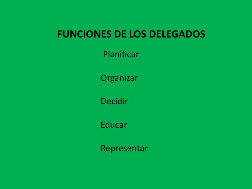FUNCIONES DE LOS DELEGADOS Planificar Organizar Decidir Educar Representar
