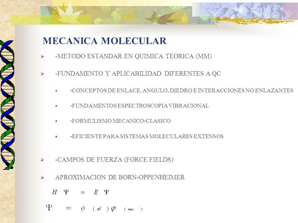 MECANICA MOLECULAR -METODO ESTANDAR EN QUIMICA TEORICA (MM) -FUNDAMENTO Y APLICABILIDAD DIFERENTES A QC -CONCEPTOS DE ENLACE, ANGULO, DIEDRO E INTERACCIONES NO ENLAZANTES -FUNDAMENTOS ESPECTROSCOPIA VIBRACIONAL -FORMULISMO MECANICO-CLASICO -EFICIENTE PARA SISTEMAS MOLECULARES EXTENSOS -CAMPOS DE FUERZA (FORCE FIELDS) APROXIMACION DE BORN-OPPENHEIMER