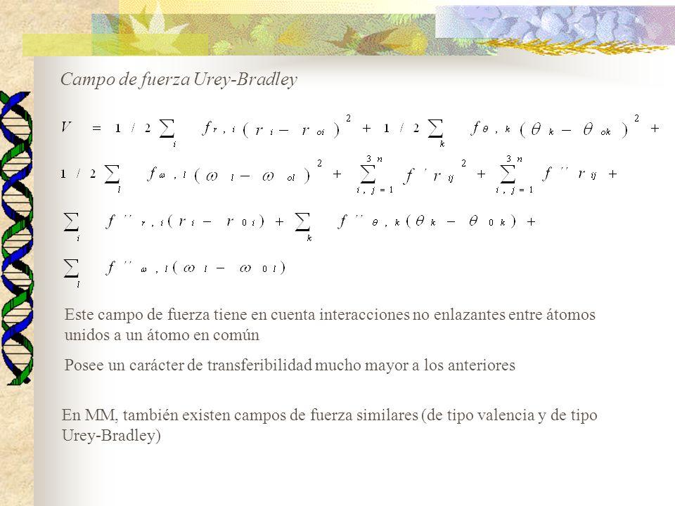 Campo de fuerza Urey-Bradley Este campo de fuerza tiene en cuenta interacciones no enlazantes entre átomos unidos a un átomo en común Posee un carácter de transferibilidad mucho mayor a los anteriores En MM, también existen campos de fuerza similares (de tipo valencia y de tipo Urey-Bradley)