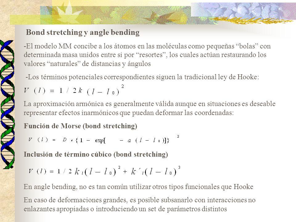 Bond stretching y angle bending -El modelo MM concibe a los átomos en las moléculas como pequeñas bolas con determinada masa unidos entre si por resortes, los cuales actúan restaurando los valores naturales de distancias y ángulos -Los términos potenciales correspondientes siguen la tradicional ley de Hooke: La aproximación armónica es generalmente válida aunque en situaciones es deseable representar efectos inarmónicos que puedan deformar las coordenadas: Función de Morse (bond stretching) Inclusión de término cúbico (bond stretching) En angle bending, no es tan común utilizar otros tipos funcionales que Hooke En caso de deformaciones grandes, es posible subsanarlo con interacciones no enlazantes apropiadas o introduciendo un set de parámetros distintos