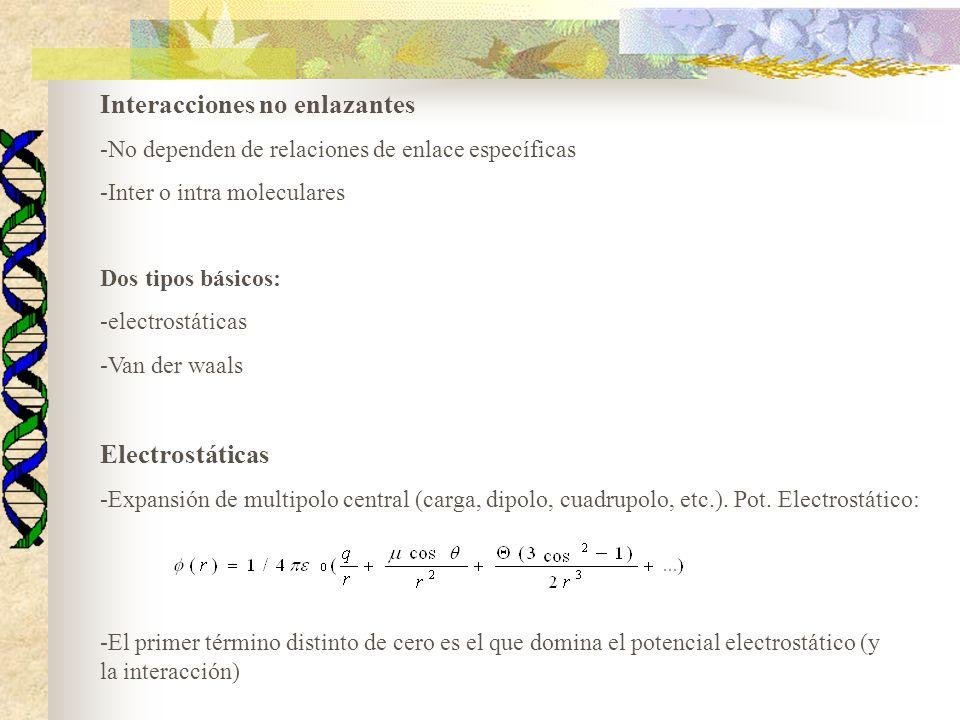 Interacciones no enlazantes -No dependen de relaciones de enlace específicas -Inter o intra moleculares Dos tipos básicos: -electrostáticas -Van der waals Electrostáticas -Expansión de multipolo central (carga, dipolo, cuadrupolo, etc.).