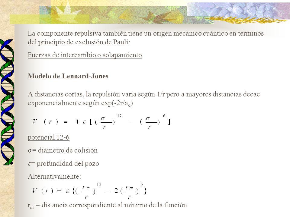 La componente repulsiva también tiene un origen mecánico cuántico en términos del principio de exclusión de Pauli: Fuerzas de intercambio o solapamiento A distancias cortas, la repulsión varía según 1/r pero a mayores distancias decae exponencialmente según exp(-2r/a o ) Modelo de Lennard-Jones potencial 12-6 = diámetro de colisión = profundidad del pozo Alternativamente: r m = distancia correspondiente al mínimo de la función