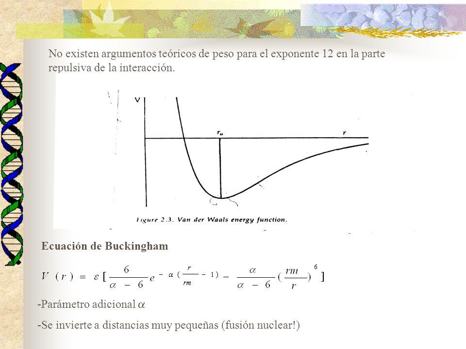 No existen argumentos teóricos de peso para el exponente 12 en la parte repulsiva de la interacción. Ecuación de Buckingham -Parámetro adicional -Se i
