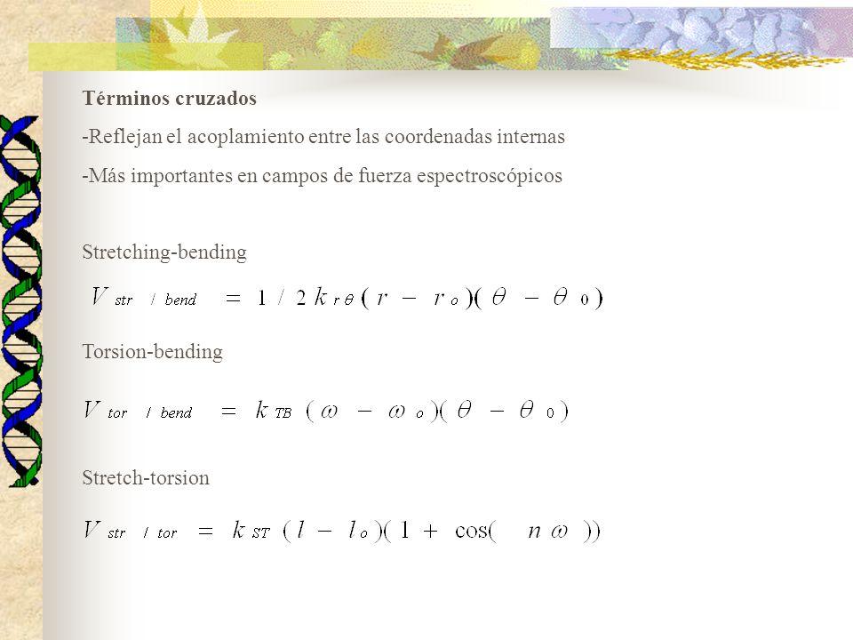 Términos cruzados -Reflejan el acoplamiento entre las coordenadas internas -Más importantes en campos de fuerza espectroscópicos Stretching-bending Torsion-bending Stretch-torsion