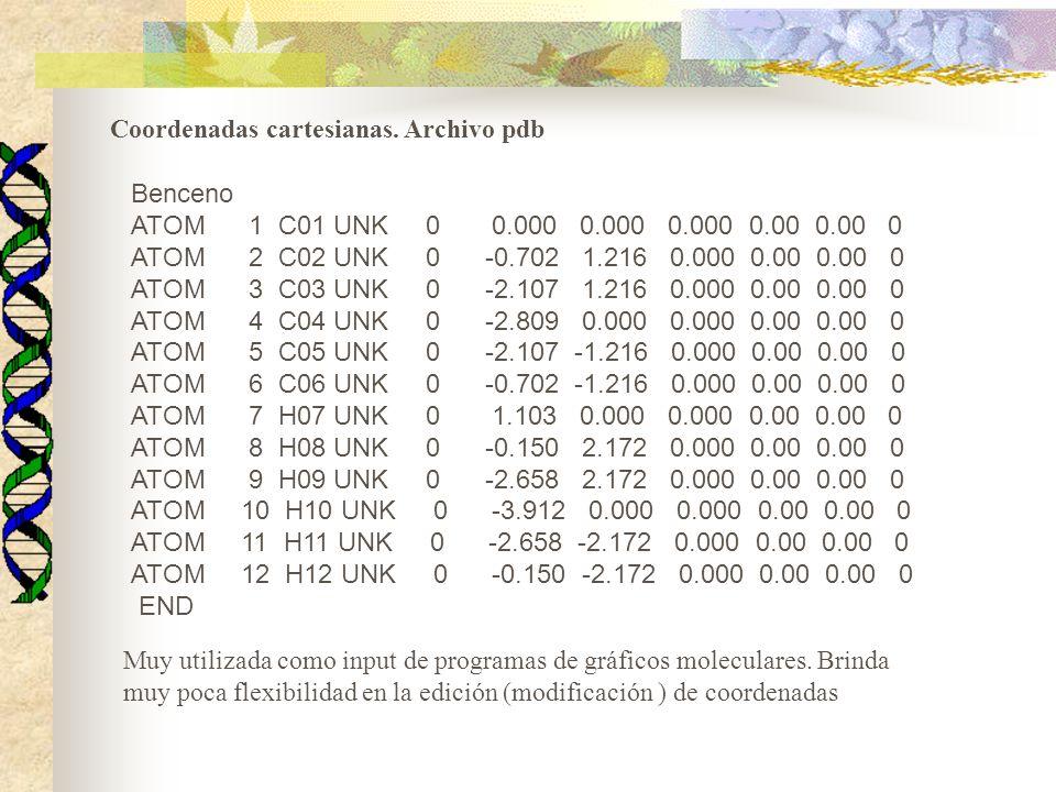 Coordenadas cartesianas. Archivo pdb Benceno ATOM 1 C01 UNK 0 0.000 0.000 0.000 0.00 0.00 0 ATOM 2 C02 UNK 0 -0.702 1.216 0.000 0.00 0.00 0 ATOM 3 C03