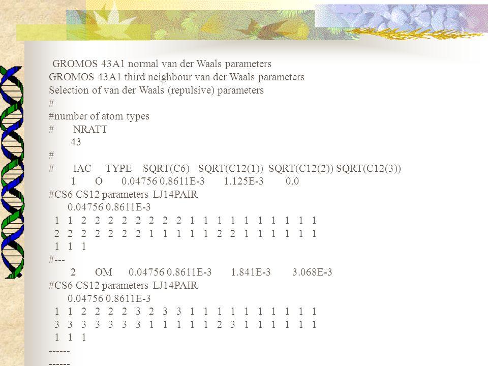 GROMOS 43A1 normal van der Waals parameters GROMOS 43A1 third neighbour van der Waals parameters Selection of van der Waals (repulsive) parameters # #number of atom types # NRATT 43 # # IAC TYPE SQRT(C6) SQRT(C12(1)) SQRT(C12(2)) SQRT(C12(3)) 1 O 0.04756 0.8611E-3 1.125E-3 0.0 #CS6 CS12 parameters LJ14PAIR 0.04756 0.8611E-3 1 1 2 2 2 2 2 2 2 2 1 1 1 1 1 1 1 1 1 1 2 2 2 2 2 2 2 1 1 1 1 1 2 2 1 1 1 1 1 1 1 1 1 #--- 2 OM 0.04756 0.8611E-3 1.841E-3 3.068E-3 #CS6 CS12 parameters LJ14PAIR 0.04756 0.8611E-3 1 1 2 2 2 2 3 2 3 3 1 1 1 1 1 1 1 1 1 1 3 3 3 3 3 3 3 1 1 1 1 1 2 3 1 1 1 1 1 1 1 1 1 ------ ------