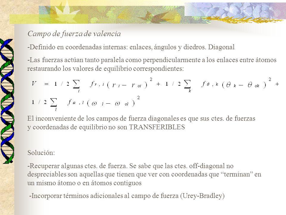 Campo de fuerza de valencia -Definido en coordenadas internas: enlaces, ángulos y diedros. Diagonal -Las fuerzas actúan tanto paralela como perpendicu