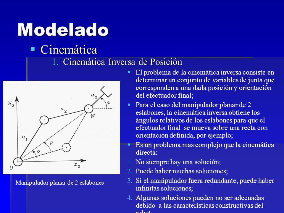 Modelado Cinemática Cinemática 1.Cinemática Inversa de Posición El problema de la cinemática inversa consiste en determinar un conjunto de variables de junta que corresponden a una dada posición y orientación del efectuador final; Para el caso del manipulador planar de 2 eslabones, la cinemática inversa obtiene los ángulos relativos de los eslabones para que el efectuador final se mueva sobre una recta con orientación definida, por ejemplo; Es un problema mas complejo que la cinemática directa: 1.No siempre hay una solución; 2.Puede haber muchas soluciones; 3.Si el manipulador fuera redundante, puede haber infinitas soluciones; 4.Algunas soluciones pueden no ser adecuadas debido a las características constructivas del robot.