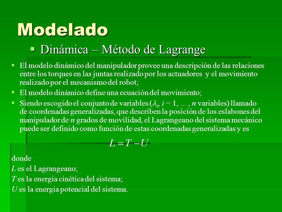 Modelado Dinámica – Método de Lagrange Dinámica – Método de Lagrange El modelo dinámico del manipulador provee una descripción de las relaciones entre los torques en las juntas realizado por los actuadores y el movimiento realizado por el mecanismo del robot; El modelo dinámico define una ecuación del movimiento; Siendo escogido el conjunto de variables ( i, i = 1,..., n variables) llamado de coordenadas generalizadas, que describen la posición de los eslabones del manipulador de n grados de movilidad, el Lagrangeano del sistema mecánico puede ser definido como función de estas coordenadas generalizadas y es donde L es el Lagrangeano; T es la energia cinética del sistema; U es la energia potencial del sistema.