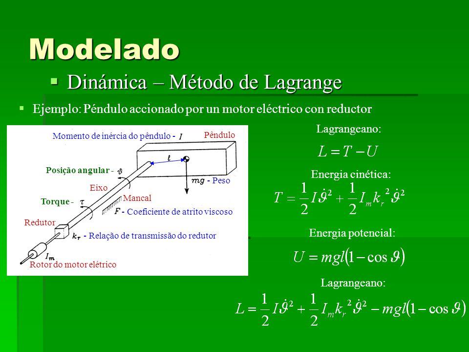 Modelado Dinámica – Método de Lagrange Dinámica – Método de Lagrange Ejemplo: Péndulo accionado por un motor eléctrico con reductor Eixo Mancal Pêndulo Redutor Rotor do motor elétrico - Relação de transmissão do redutor - Coeficiente de atrito viscoso Momento de inércia do pêndulo - - Peso Posição angular - Torque - Lagrangeano: Energia cinética: Energia potencial: Lagrangeano: