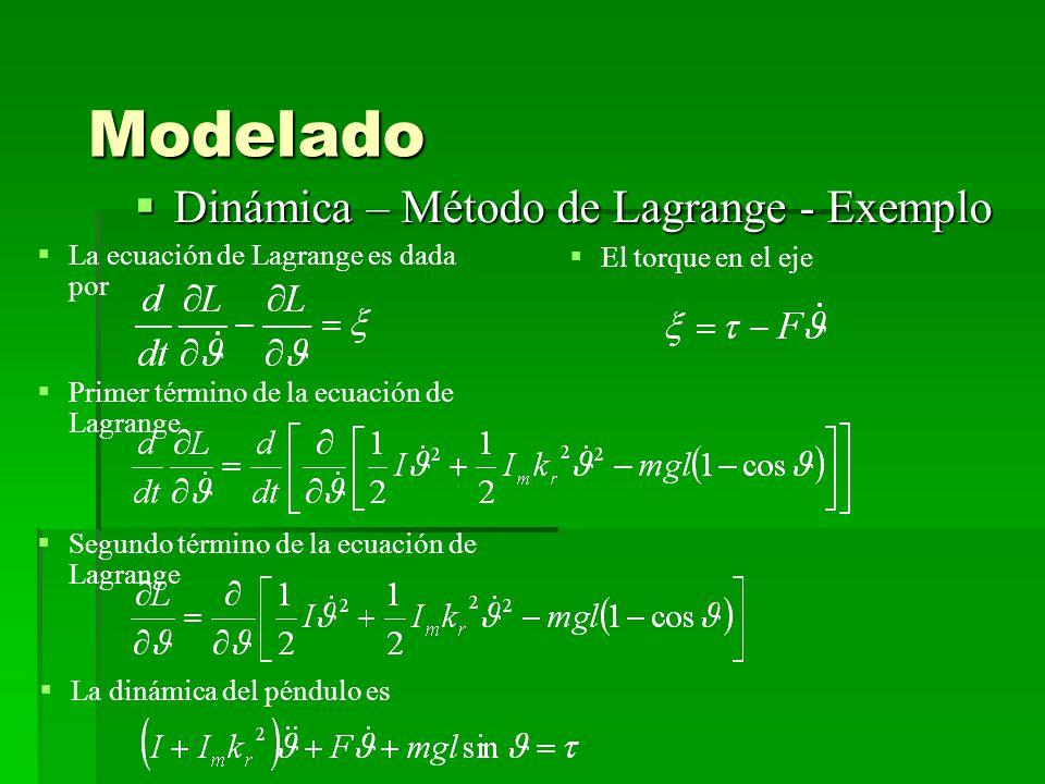 Modelado Dinámica – Método de Lagrange - Exemplo Dinámica – Método de Lagrange - Exemplo La ecuación de Lagrange es dada por Primer término de la ecuación de Lagrange Segundo término de la ecuación de Lagrange El torque en el eje La dinámica del péndulo es