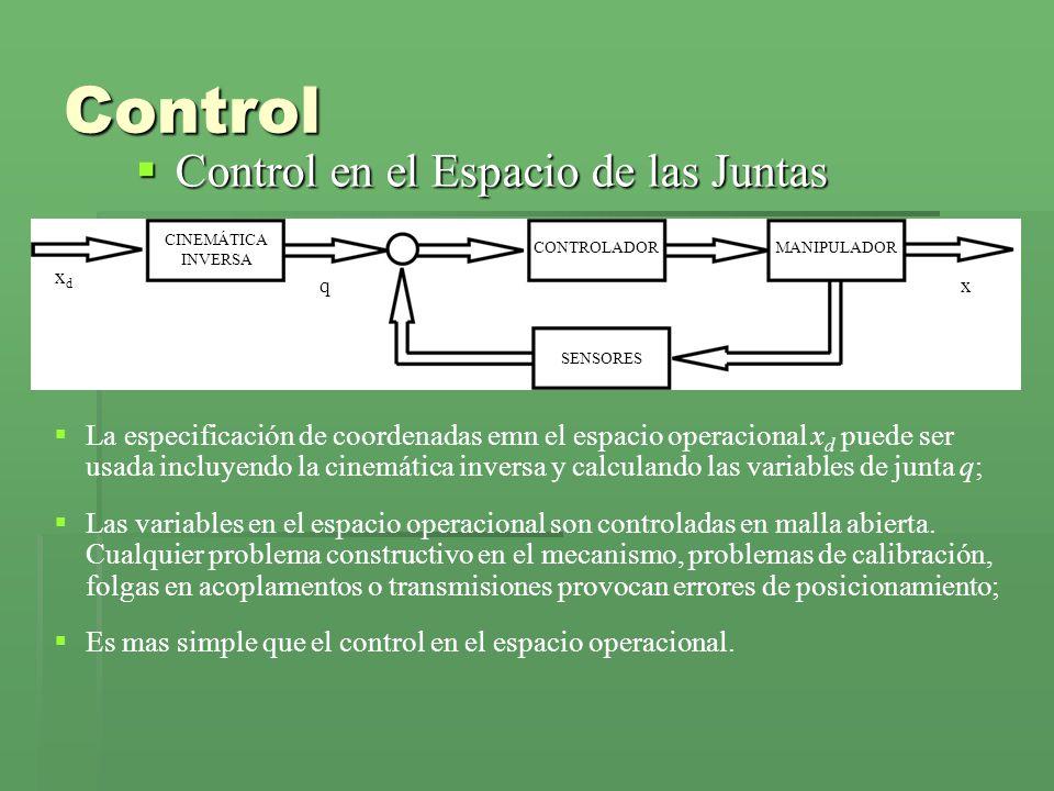 Control Control en el Espacio de las Juntas Control en el Espacio de las Juntas CINEMÁTICA INVERSA CONTROLADORMANIPULADOR SENSORES xdxd xq La especificación de coordenadas emn el espacio operacional x d puede ser usada incluyendo la cinemática inversa y calculando las variables de junta q; Las variables en el espacio operacional son controladas en malla abierta.
