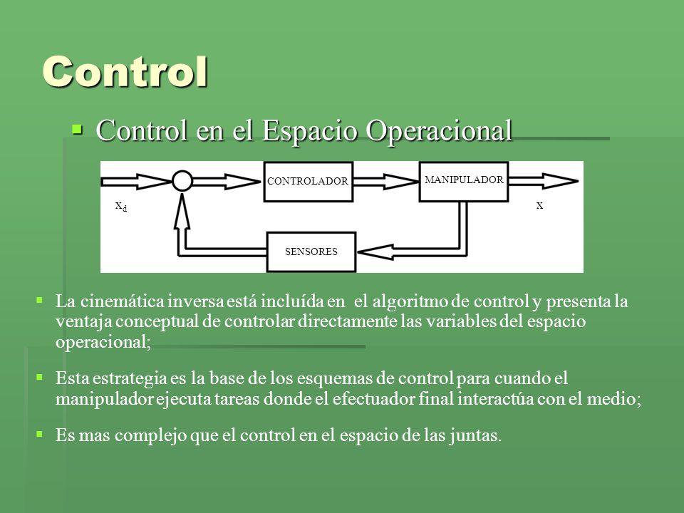 Control en el Espacio Operacional Control en el Espacio Operacional CONTROLADOR SENSORES MANIPULADOR xdxd x Control La cinemática inversa está incluída en el algoritmo de control y presenta la ventaja conceptual de controlar directamente las variables del espacio operacional; Esta estrategia es la base de los esquemas de control para cuando el manipulador ejecuta tareas donde el efectuador final interactúa con el medio; Es mas complejo que el control en el espacio de las juntas.