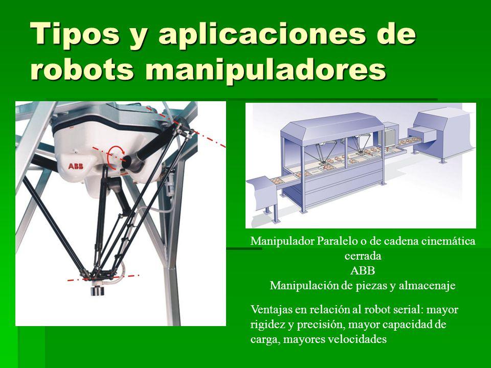 Tipos y aplicaciones de robots manipuladores Manipulador Paralelo o de cadena cinemática cerrada ABB Manipulación de piezas y almacenaje Ventajas en relación al robot serial: mayor rigidez y precisión, mayor capacidad de carga, mayores velocidades