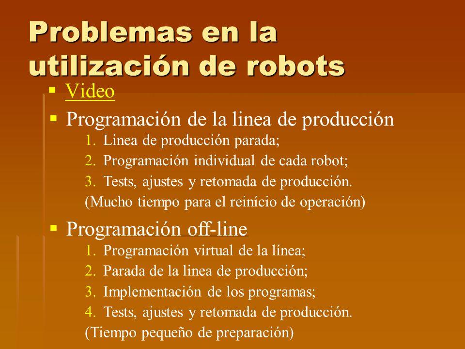 Problemas en la utilización de robots Video Programación de la linea de producción 1.Linea de producción parada; 2.Programación individual de cada robot; 3.Tests, ajustes y retomada de producción.