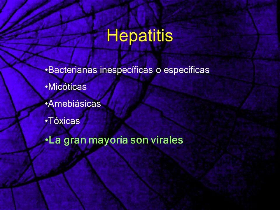 Hepatitis Bacterianas inespecíficas o específicas Micóticas Amebiásicas Tóxicas La gran mayoría son virales