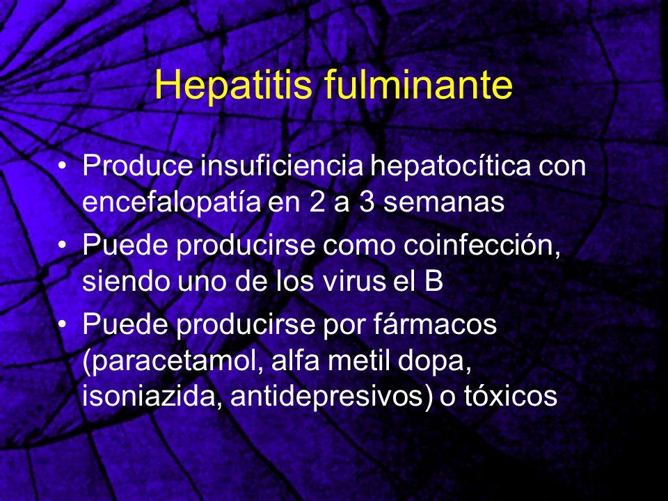 Hepatitis fulminante Produce insuficiencia hepatocítica con encefalopatía en 2 a 3 semanas Puede producirse como coinfección, siendo uno de los virus