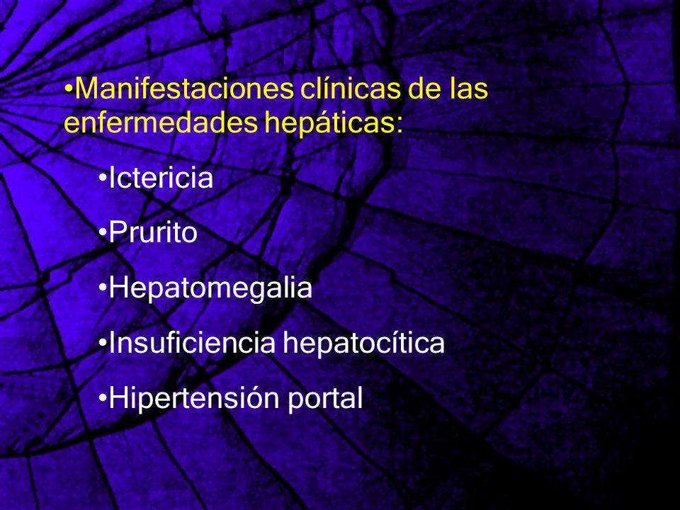 Manifestaciones clínicas de las enfermedades hepáticas: Ictericia Prurito Hepatomegalia Insuficiencia hepatocítica Hipertensión portal