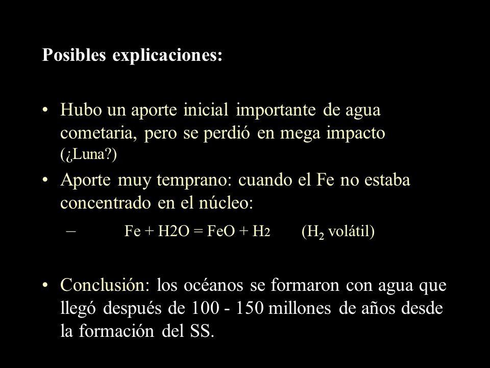 Origen cometario La relación D/H en tres cometas (Halley,Hyakutake,Hale Bopp) es casi 2 veces la del agua terrestre (cuidado: muestra pequeña) the wat