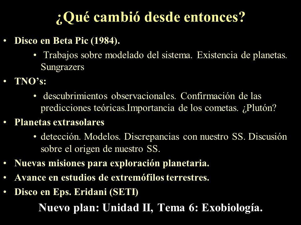 ¿Por qué Exobiología? Programa 1989 –Tema 4. La vida en el universo –4a. escencia de la vida a la luz de la ciencia actual condiciones físicas y límit