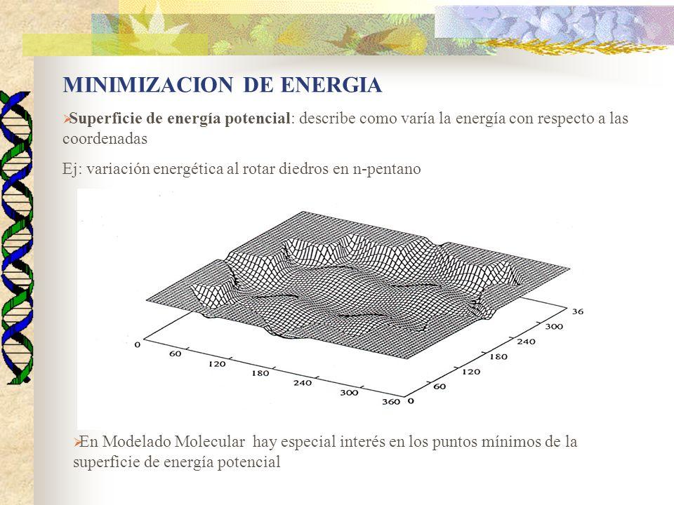 En general existe más de un mínimo de energía para una molécula: -Mínimo local -Mínimo global Algoritmo de minimización- identifica geometrías de mínimos Otros aspectos: -variación en posiciones atómicas durante una reacción -adopción de diferentes mínimos -diferencias de energías relativas -otros puntos estacionarios: TS Concepto de mínimo de una función Dada una función f que depende de un conjunto de variables independientes: x 1, x 2, …..x i,….., x n Minimizar la función equivale a encontrar el conjunto de valores de las variables independientes (x*) tal que: V(x*) = min(V(x))