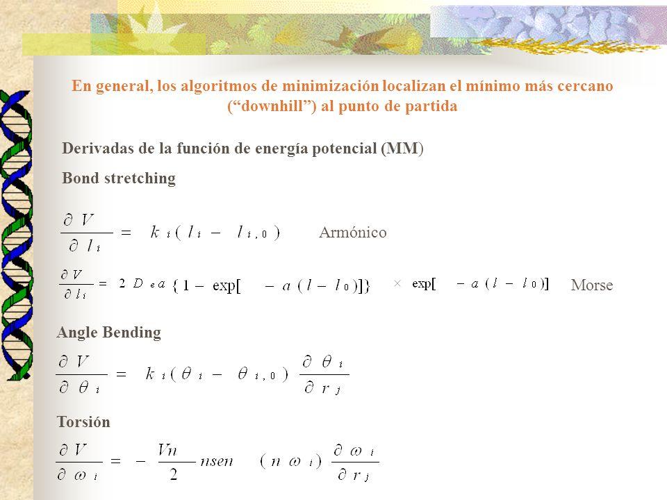 Elección del método de minimización Diversos factores: 1) Capacidad de almacenamiento de datos 2) Velocidad requerida 3) Disponibilidad de derivadas analíticas 4) Tamaño del sistema a modelar MM -SD y GC para sistemas de porte mediano a grande -NR para moléculas más pequeñas y cercanas al mínimo Punto crítico: evaluación de derivadas primeras y segundas QC -NR para niveles bajos de teoría -QN para niveles más altos -SD y GC para semiempíricos Punto crítico: cálculo de la energía