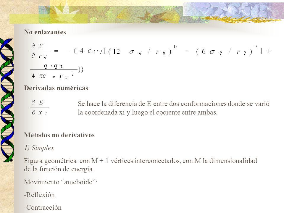 Procedimiento 1) Generación de vértices -Un vértice corresponde a la configuración inicial del sistema -El resto se genera incrementando en una constante a una coordenada por vez 2) Cálculo de los valores de la energía para cada vértice 3) Aplicación de movimiento hasta llegar a un valor de energía aceptable Método muy costoso computacionalmente para sistemas de muchas coordenadas (MM) Util cuando se está muy lejos del mínimo
