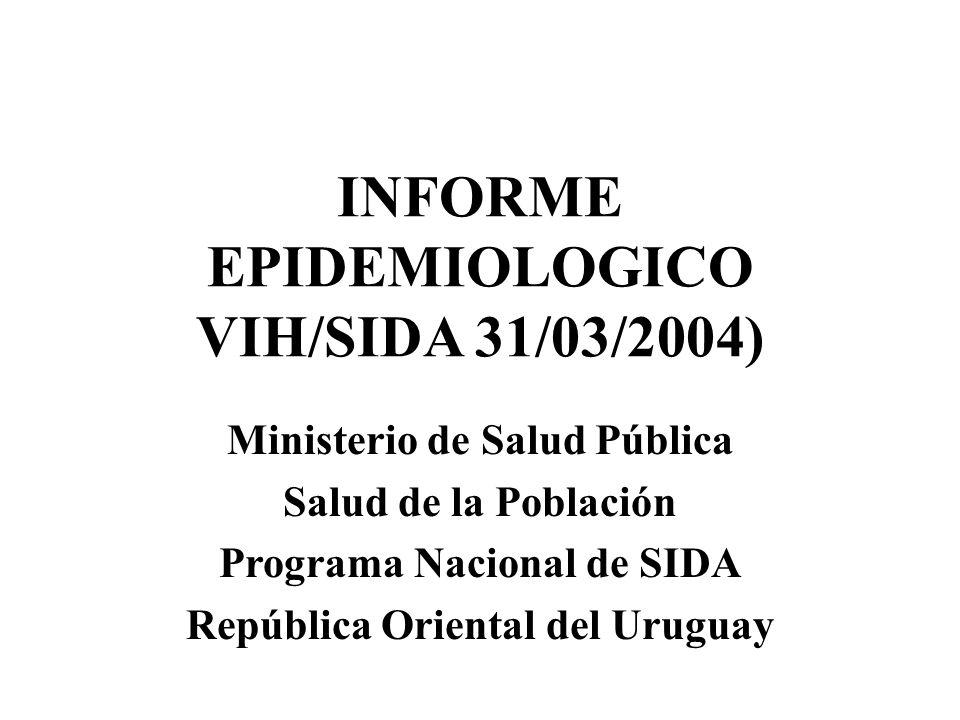 Ministerio de Salud Pública Salud de la Población Programa Nacional de SIDA República Oriental del Uruguay INFORME EPIDEMIOLOGICO VIH/SIDA 31/03/2004)