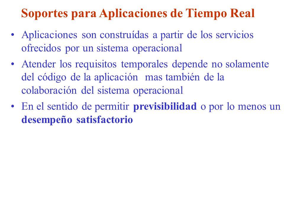Soportes para Aplicaciones de Tiempo Real Aplicaciones son construídas a partir de los servicios ofrecidos por un sistema operacional Atender los requ