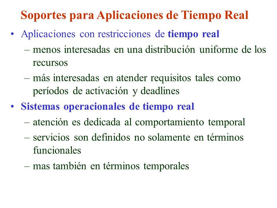 Soportes para Aplicaciones de Tiempo Real Aplicaciones con restricciones de tiempo real –menos interesadas en una distribución uniforme de los recurso