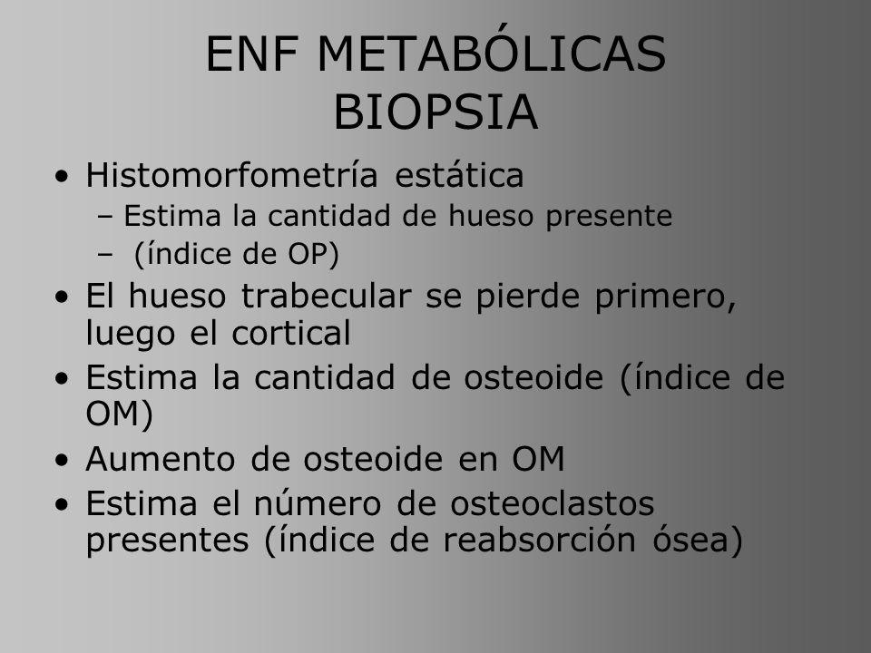 ENF METABÓLICAS BIOPSIA Histomorfometría estática –Estima la cantidad de hueso presente – (índice de OP) El hueso trabecular se pierde primero, luego