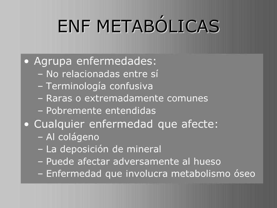 ENF METABÓLICAS Agrupa enfermedades: –No relacionadas entre sí –Terminología confusiva –Raras o extremadamente comunes –Pobremente entendidas Cualquie