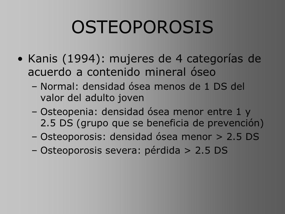 OSTEOPOROSIS Kanis (1994): mujeres de 4 categorías de acuerdo a contenido mineral óseo –Normal: densidad ósea menos de 1 DS del valor del adulto joven