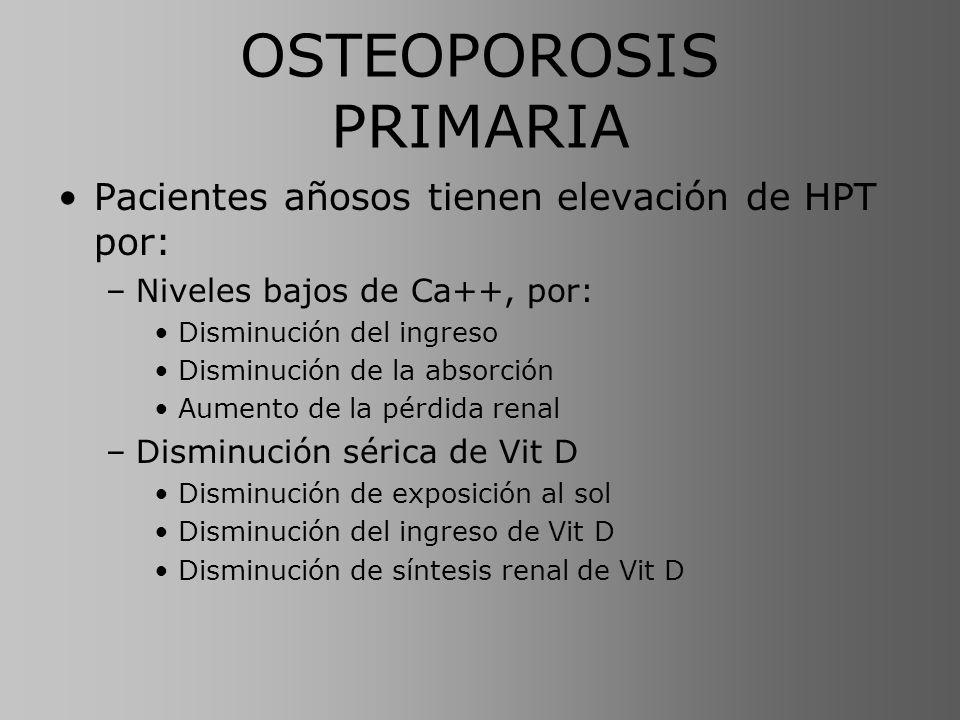 OSTEOPOROSIS PRIMARIA Pacientes añosos tienen elevación de HPT por: –Niveles bajos de Ca++, por: Disminución del ingreso Disminución de la absorción A