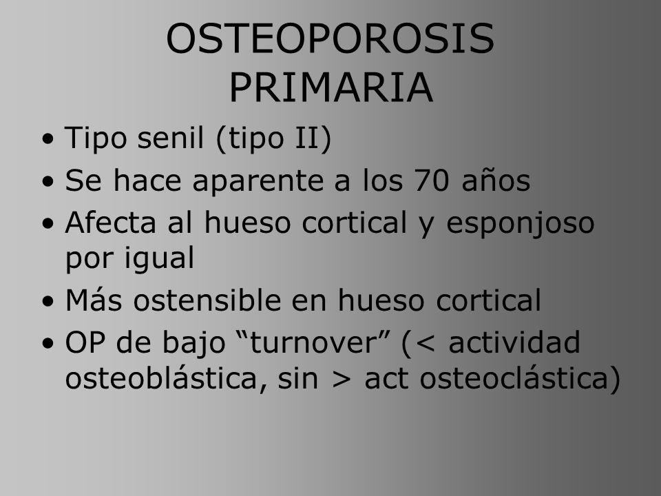 OSTEOPOROSIS PRIMARIA Tipo senil (tipo II) Se hace aparente a los 70 años Afecta al hueso cortical y esponjoso por igual Más ostensible en hueso corti
