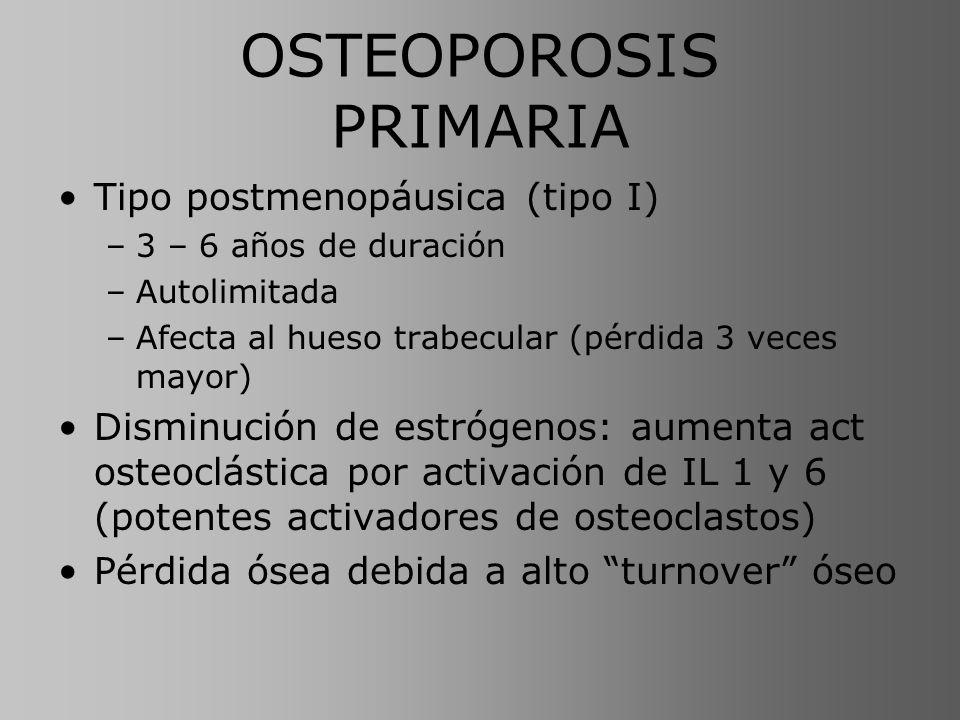 OSTEOPOROSIS PRIMARIA Tipo postmenopáusica (tipo I) –3 – 6 años de duración –Autolimitada –Afecta al hueso trabecular (pérdida 3 veces mayor) Disminuc