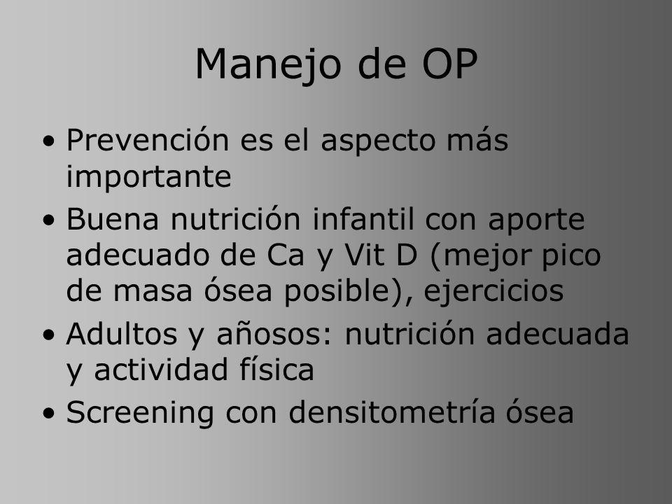 Manejo de OP Prevención es el aspecto más importante Buena nutrición infantil con aporte adecuado de Ca y Vit D (mejor pico de masa ósea posible), eje