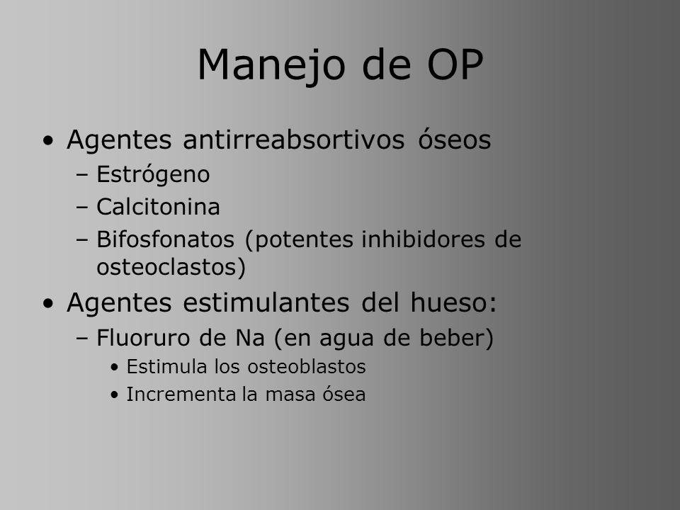 Manejo de OP Agentes antirreabsortivos óseos –Estrógeno –Calcitonina –Bifosfonatos (potentes inhibidores de osteoclastos) Agentes estimulantes del hue