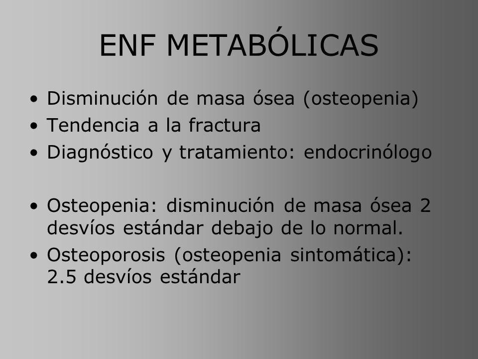 ENF METABÓLICAS 3 grupos principales: Causadas por anormalidades endócrinas específicas –Exceso de HPT –Déficit de vitamina D Osteopenias sin anomalías endócrinas específicas –Osteoporosis vinculada a la edad Osteopenias por mal uso (ausencia de actividad física)