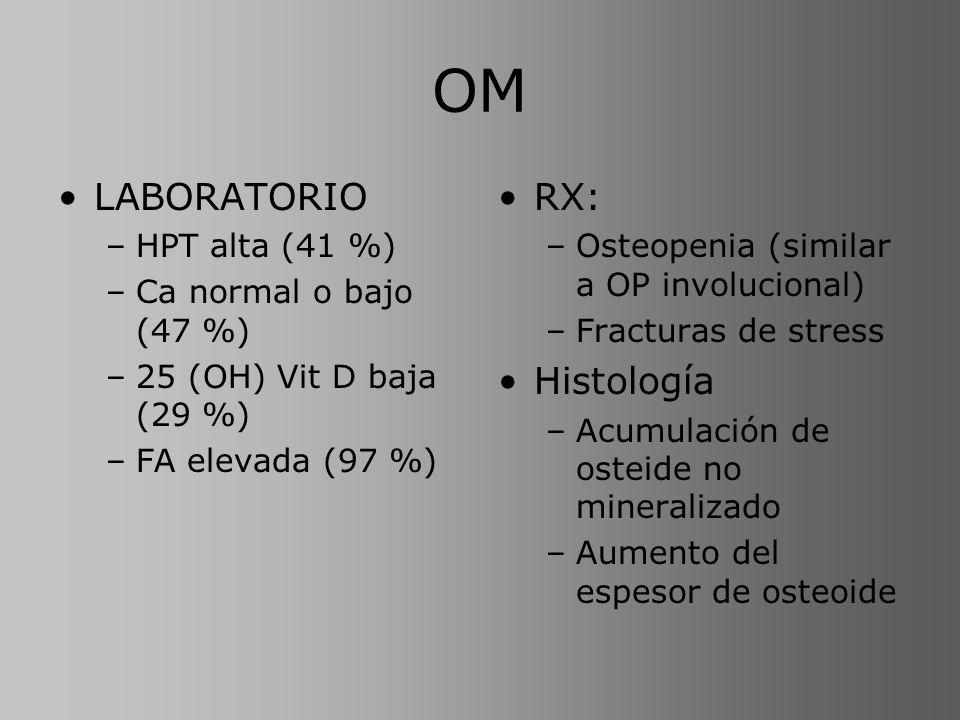 OM LABORATORIO –HPT alta (41 %) –Ca normal o bajo (47 %) –25 (OH) Vit D baja (29 %) –FA elevada (97 %) RX: –Osteopenia (similar a OP involucional) –Fr
