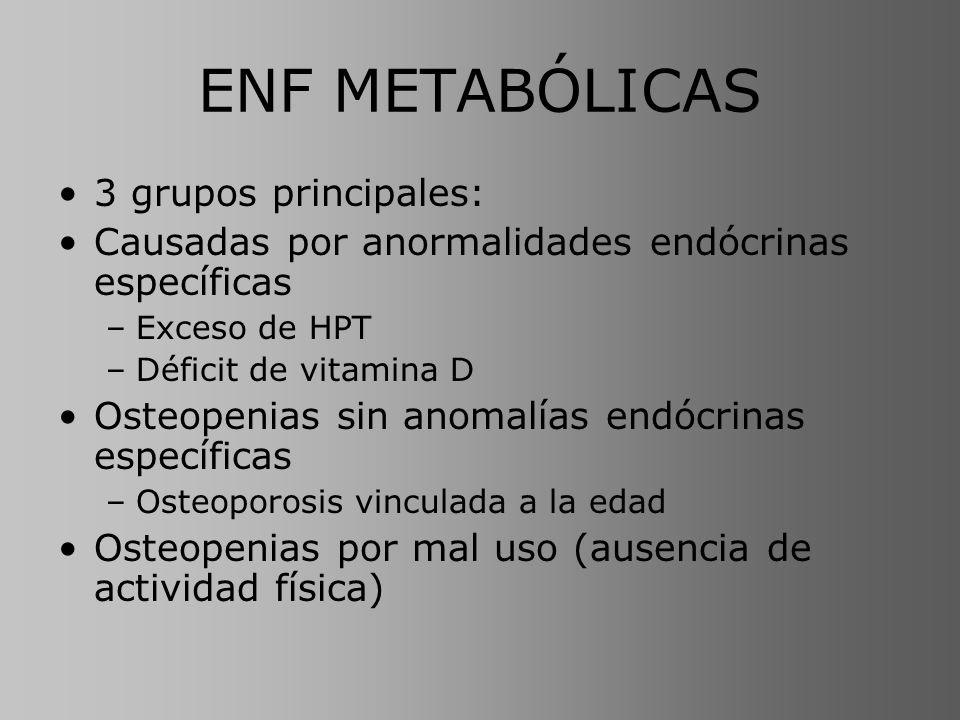 ENF METABÓLICAS 3 grupos principales: Causadas por anormalidades endócrinas específicas –Exceso de HPT –Déficit de vitamina D Osteopenias sin anomalía