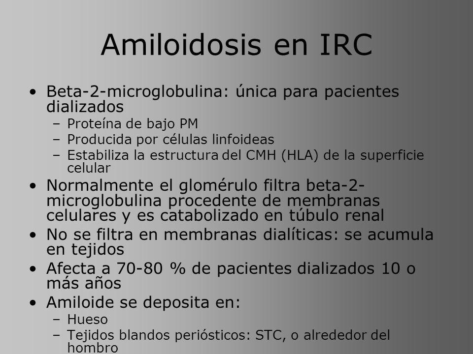Amiloidosis en IRC Beta-2-microglobulina: única para pacientes dializados –Proteína de bajo PM –Producida por células linfoideas –Estabiliza la estruc