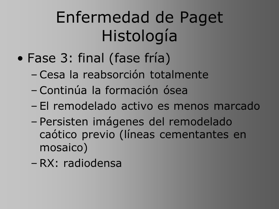 Enfermedad de Paget Histología Fase 3: final (fase fría) –Cesa la reabsorción totalmente –Continúa la formación ósea –El remodelado activo es menos ma