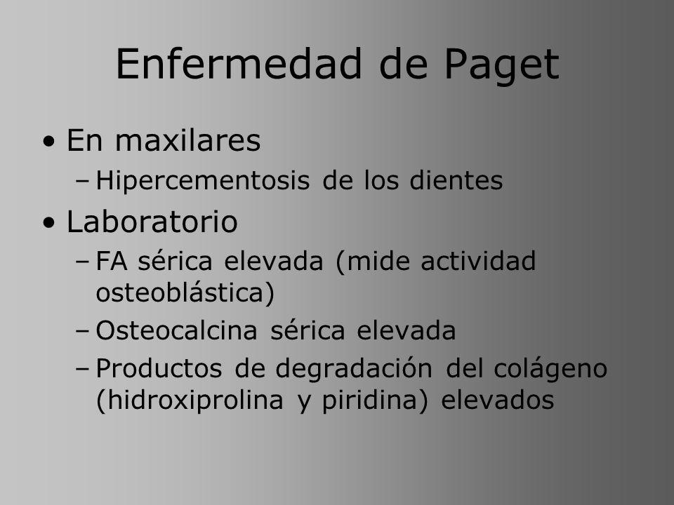 Enfermedad de Paget En maxilares –Hipercementosis de los dientes Laboratorio –FA sérica elevada (mide actividad osteoblástica) –Osteocalcina sérica el