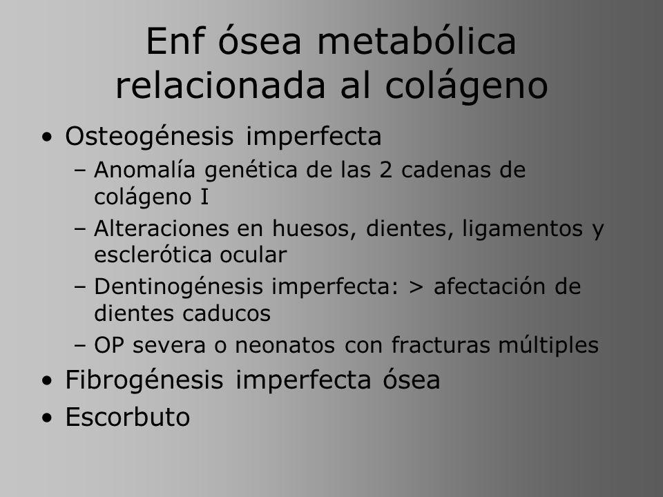 Enf ósea metabólica relacionada al colágeno Osteogénesis imperfecta –Anomalía genética de las 2 cadenas de colágeno I –Alteraciones en huesos, dientes